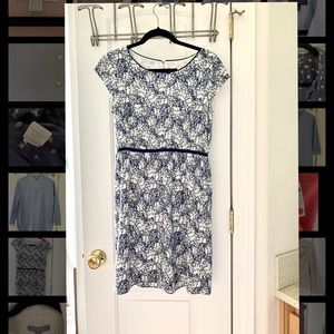 LOFT navy and white floral print dress